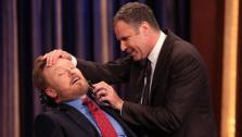 Conan OBrien appears with Will Ferrell, who shaves some of his beard off on TBS talk show Conan on May 2, 2011. - Provided courtesy of OTRC / Meghan Sinclair / Team Coco / teamcoco.com