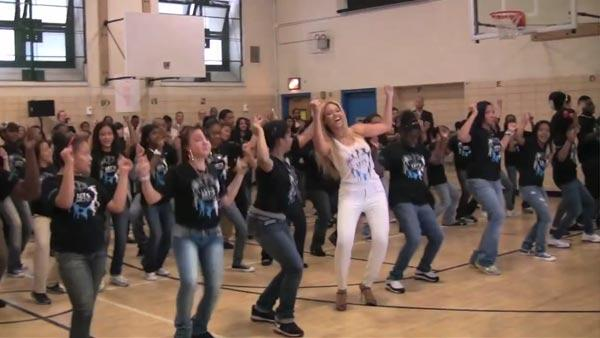 Beyonce suprises Harlem school children on May 3. - Provided courtesy of YouTube