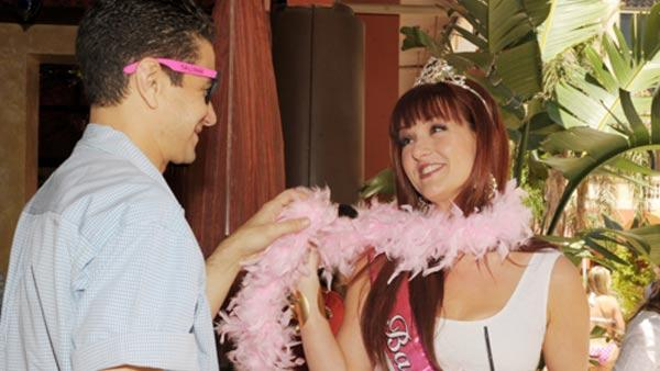 Sara Rue appears with her Man Maid Elias Madias at her bachelorette party at TAO Beach in Las Vegas on April 30, 2011. - Provided courtesy of Denise Truscello