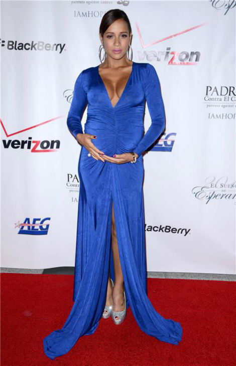 A pregnant Dania Ramirez &#40;Lifetime Television&#39;s &#39;Devious Maids,&#39; &#39;Entourage&#39;&#41; poses at the El Sueno De Esperanza gala, hosted by PADRES Contra El Cancer, at Club Nokia in Los Angeles on Sept. 24, 2013. She announced in July that she and her husband, director director John Amos Beverly &#39;Bev&#39; Land, are expecting twins. <span class=meta>(Lionel Hahn &#47; AbacaUSA &#47; Startraksphoto.com)</span>