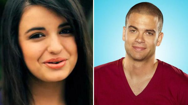 Rebecca Black appears in a still from her music video, Friday. / Mark Salling appears in a promotional photo for Glee. - Provided courtesy of OTRC / YouTube / Fox / Miranda Penn Turin