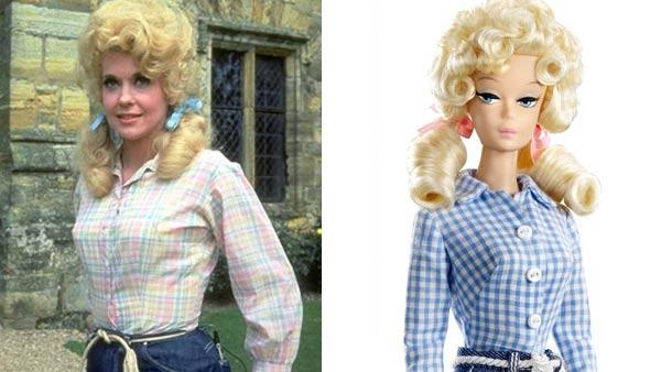 Donna Douglas appears in a still from The Beverly Hillbillies. / The Elly May Clampett Barbie doll. - Provided courtesy of CBS / Mattel