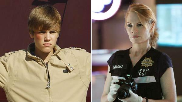 Justin Bieber and Marg Helgenberger appear in different scenes from CSI. - Provided courtesy of CBS