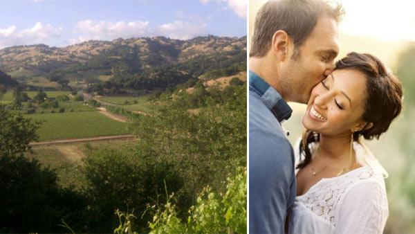 Celebrity wedding planner Mindy Weiss Tweeted a photo of the view from the wedding rehearsal of Tamera Mowry and Adam Houseley on May 14, 2011. / Tamera Mowry and Adam Houseley appear in a wedding photo posted by Jeff Nguyen on May 15, 2011.