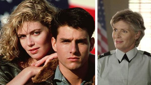 Kelly McGillis and Tom Cruise appear in a promotional photo for the 1986 movie 'Top Gun.' / Kelly McGillis appears in a scene from 'The L Word.'