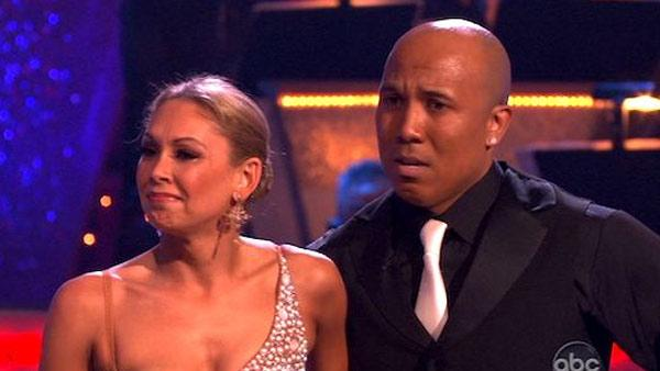 Hines Ward and Kim Johnson appear on Dancing With The Stars on May 16, 2011, days after she suffered a neck injury. The judges awarded the two perfect 10 scores for their tango. - Provided courtesy of ABC