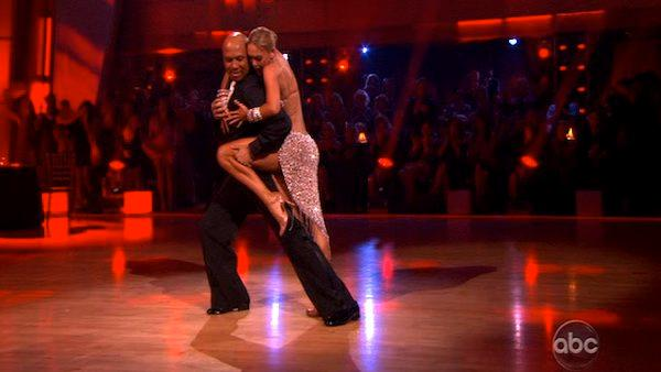 Hines Ward and his partner Kym Johnson appear in a still from Dancing With The Stars which aired on April 16, 2011. - Provided courtesy of OTRC / ABC