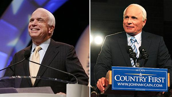 John McCain appears at the 99th Annual NAACP Convention in Cincinnati, OH in a photo posted on the politicians Facebook page on July 16, 2008. / Ed Harris appears as John McCain in a May 2011 promotional photo for the new HBO film Game Change. - Provided courtesy of facebook.com/johnmccain/ HBO