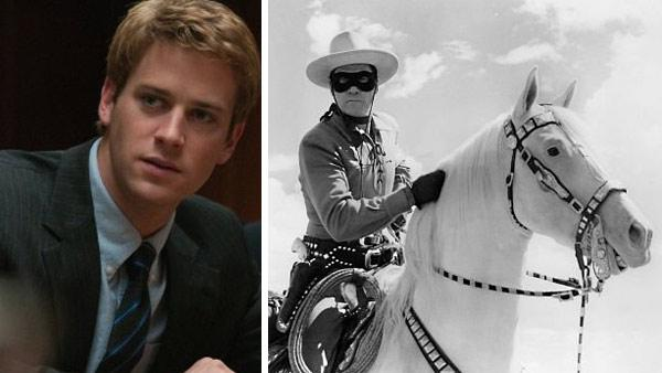 Armie Hammer appears in a scene from the 2010 movie The Social Network. / Clayton Moore appears as the Lone Ranger in the television series The Lone Ranger, which ran between 1949 and 1957. - Provided courtesy of Columbia Pictures / Apex Film Corp. / Wrather Productions / ABC