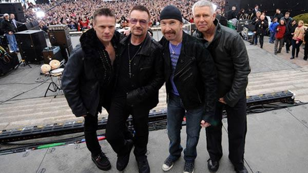 Members of U2, Bono, The Edge, Adam Clayton and Larry Mullen, Jr. appear in an undated photograph taken at Fordham University in New York, courtesy of their official website, U2.com.