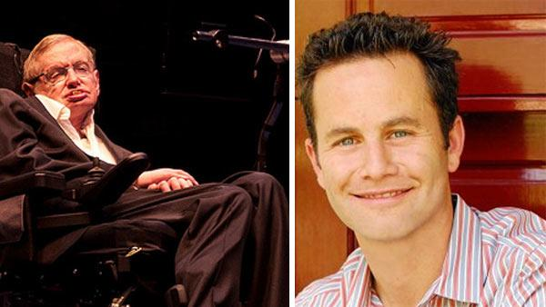 Stephen Hawking gives a lecture in 2010. / Kirk Cameron appears in a photo posted on his Facebook page on Dec. 15, 2009. - Provided courtesy of flickr.com/photos/jessonyip/ facebook.com/pages/Kirk-Cameron