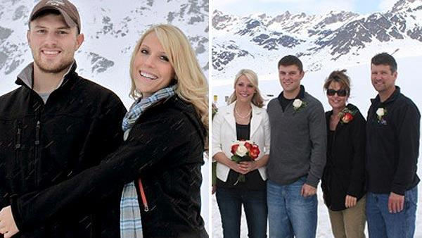 Britta Hanson, Track Palin, Sarah and Todd Palin appear in an undated photo on Sarah Palin's official website.