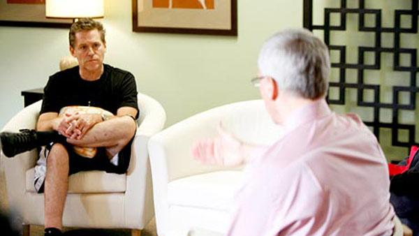 Jeff Conaway and Dr. Drew appear in a still from Celebrity Rehab with Dr. Drew, which aired in 2008. - Provided courtesy of VH1