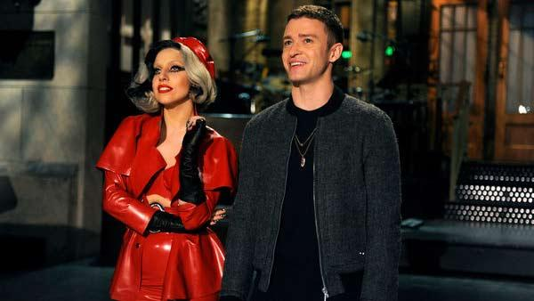 Justin Timberlake and Lady Gaga appear in a promotional photo for Saturday Night Live. - Provided courtesy of NBC