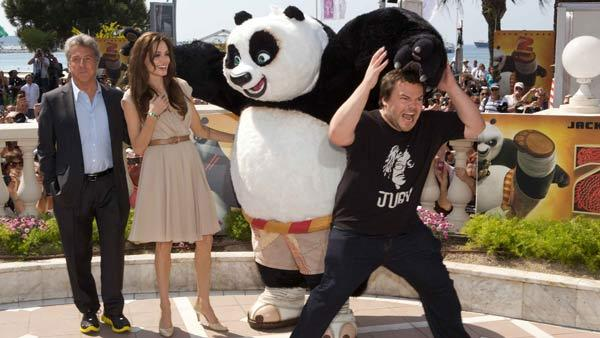 Jack Black (Po), Angelina Jolie (Tigress) and Dustin Hoffman (Shifu) dazzle the crowds at a photo call in Cannes, France to celebrate DreamWorks Animations Kung Fu Panda 2, which will be released by Paramount Pictures on Thursday, May 26, 2011. - Provided courtesy of Lucian Capellaro / Paramount