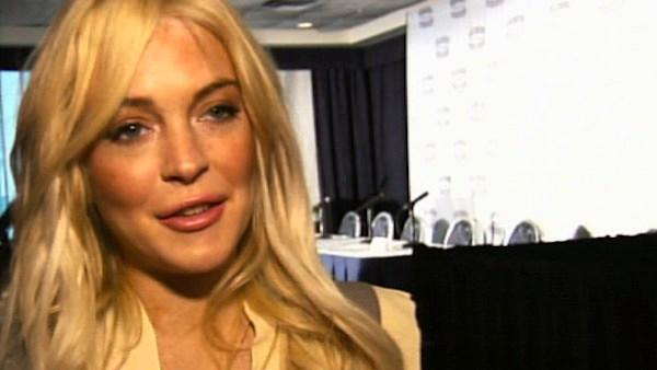 Lindsay Lohan speaks to reporters in New York about the movie 'Gotti: Three Generations' on Tuesday, April 12, 2011.