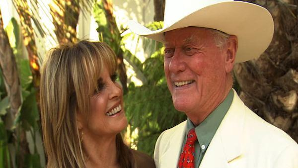 Larry Hagman and Linda Gray of Dallas talk to OnTheRedCarpet.com / KABC Television about auctioning off some of the actors items in a Beverly Hills auction in June 2011. - Provided courtesy of OTRC