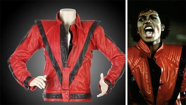 The jacket Michael Jackson wore in the Thriller video. / Michael Jackson appears in the music video Thriller. - Provided courtesy of Juliens Auctions / 1982 MJJ Productions