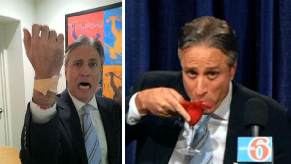 Jon Stewart is seen with an injured wrist after cutting it during a skit for The Daily Show on June 7, 2011. / Jon Stewart appears on The Daily Show on June 7, 2011. - Provided courtesy of yfrog.com/h8s58qrj / Comedy Central