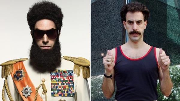 Left: Sacha Baron Cohen appears in a promotional photo for the 2012 film The Dictator. Right: Sacha Baron Cohen appears in a promotional photo for the 2006 movie Borat: Cultural Learnings of America for Make Benefit Glorious Nation of Kazakhstan. - Provided courtesy of Paramount Pictures / 20th Century Fox