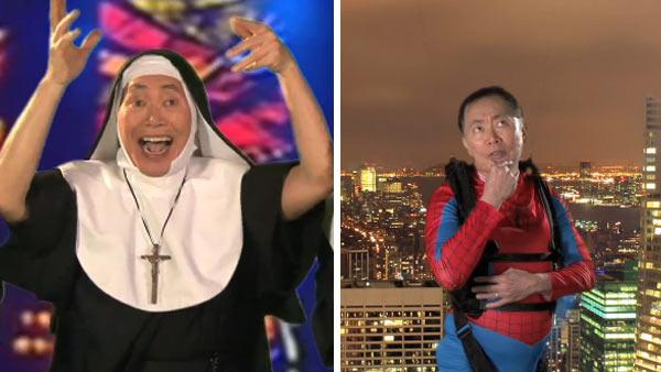 George Takei appears in Broadway audition videos as a nun in Sister Act as as Spider-Man. - Provided courtesy of youtube.com/user/allegiancebway