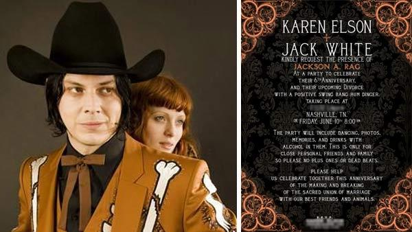 Jack White and Karen Elson appear in a photo posted on his PR firm's website in June 2011, announcing their divorce and party. / A photo of their divorce party invitation.