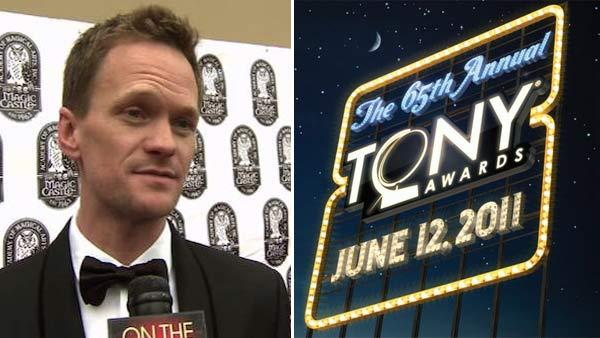 Neil Patrick Harris talks to OnTheRedCarpet.com in April 2010. / The logo for the 2011 Tony Awards. - Provided courtesy of OTRC / facebook.com/TheTonyAwards