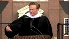 Conan OBrien delivering the commencement address to the graduating class of 2011 at Dartmouth College. - Provided courtesy of Dartmouth