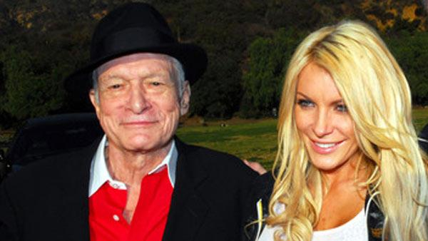 Hugh Hefner and Crystal Harris appear in a photo posted on his Twitter page in December 2010.