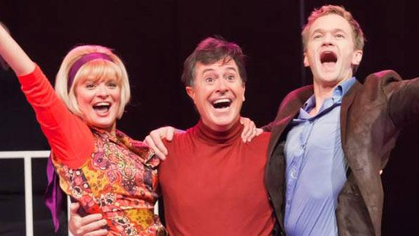 Stephen Colbert, Martha Plimpton and Neil Patrick Harris appear in a scene from Company. - Provided courtesy of NYPhil.org