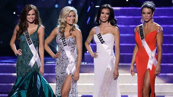From left, Miss California, Miss Tennessee, Miss Texas and Miss Alabama, the four finalists wait to be asked questions during the 2011 Miss USA pageant