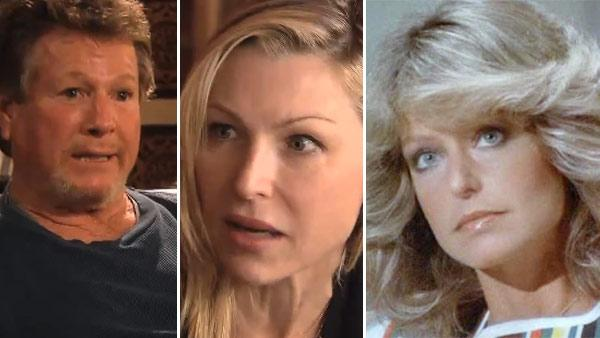 Ryan ONeal and Tatum ONeal appear in scenes from the 2011 OWN show Ryan and Tatum. / Farrah Fawcett appears in a scene from the 1970s series Charlies Angels. - Provided courtesy of ABC / OWN