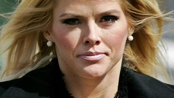 Anna Nicole Smith, leaves the U.S. Supreme Court, in this Feb. 28, 2006, file photo in Washington. - Provided courtesy of AP / AP Photo / Manuel Balce Ceneta, File