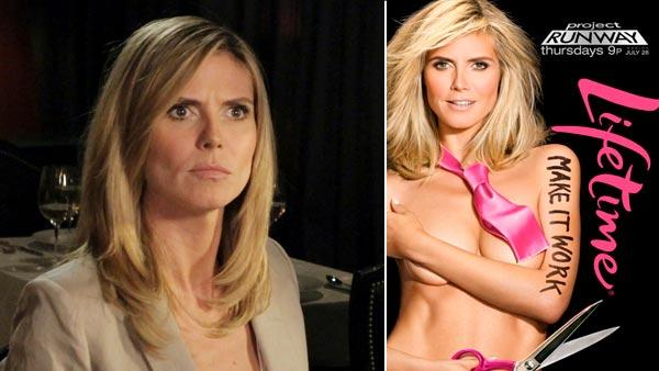 Heidi Klum, left, appears in a skit for Jimmy Kimmel Live in February 2011 and right in a 2011 advertisement for Project Runways ninth season. - Provided courtesy of ABC / Lifetime