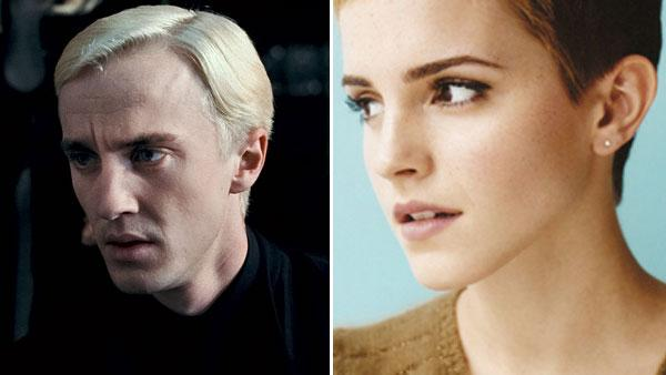 Left: Tom Felton appears in a scene from Harry Potter and the Deathly Hallows Part II Right: Emma Watson appears in a promotional photo posted on her Twitter page in 2011. - Provided courtesy of Warner Bros. / twitter.com/emwatson