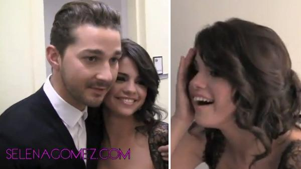 Selena Gomez poses for pictures with Shia LaBeouf in this YouTube video posted on her account on June 28, 2011. - Provided courtesy of youtube.com/user/SelGomez