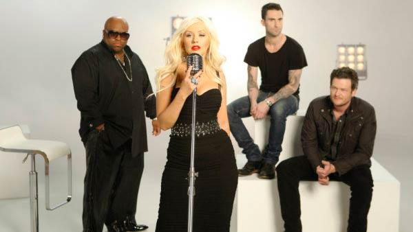 Christina Aguilera, Maroon 5 singer Adam Levine, Cee Lo Green and Shelton pose in a promotional still for The Voice. - Provided courtesy of OTRC / NBC