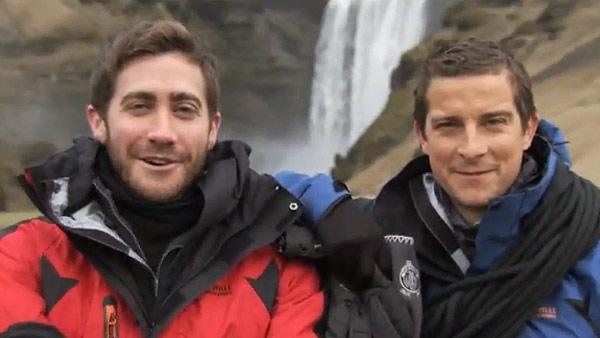 Jake Gyllenhaal and Bear Grylls appear in a teaser for the Discovery Channel series Man Vs. Wild. - Provided courtesy of Discovery Networks