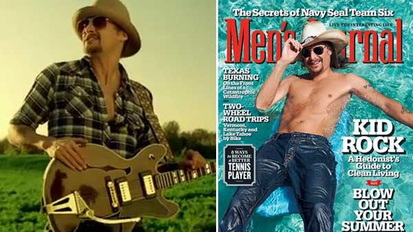 Kid Rock appears in his Born Free video. / Kid Rock appears on the July 2011 cover of Mens Journal magazine. - Provided courtesy of WMG / Mens Journal