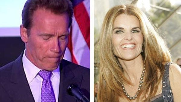 Arnold Schwarzenegger speaks at the Skirball Cultural Center in Los Angeles on Tuesday, May 10, 2011. / Maria Shriver appears in a photo posted on her Twitter page in 2011.
