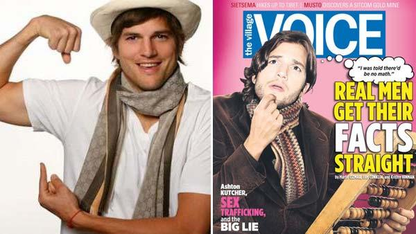 Ashton Kutcher appears in a photo posted on his Facebook page on Feb. 27, 2009. / Ashton Kutcher appears on the cover of the June 29 edition of The Village Voice. - Provided courtesy of facebook.com/Ashton / Village Voice Media
