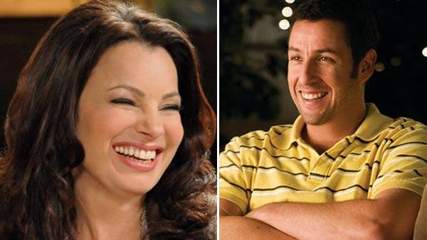 Fran Drescher appears in a still from her TV series, Happily Divorced. / Adam Sandler appears in a scene from the 2009 movie Funny People. - Provided courtesy of TV Land / Universal Pictures