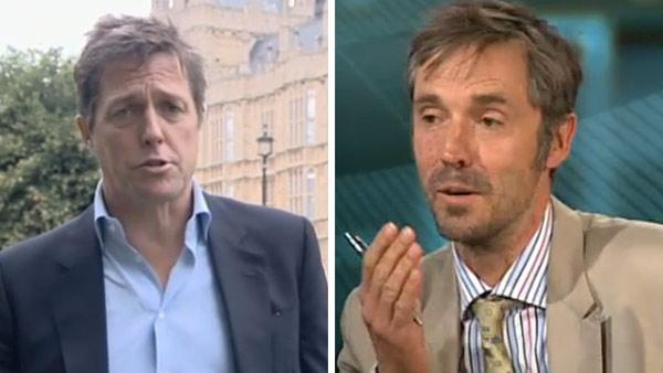 Hugh Grant and ex-News of the World journalist Paul McMullan speak to BBC News in July 2011. - Provided courtesy of BBC