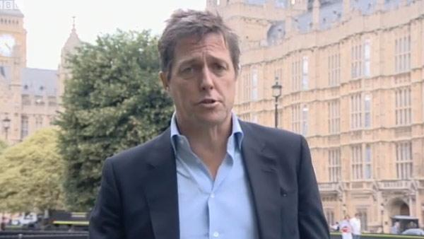 Hugh Grant speaks to BBC News in July 2011. - Provided courtesy of BBC