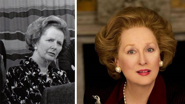 Meryl Streep appears in this 2011 promotional photo as Margaret Thatcher for the movie The Iron Lady. / Margaret Thatcher appears at the Open University in the UK in this undated photo. - Provided courtesy of Alex Bailey / Pathe / The Open University - UK