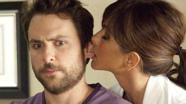 Jennifer Aniston and Charlie Day appear in a still from Horrible Bosses. - Provided courtesy of New Line Productions Inc. / John P. Johnson