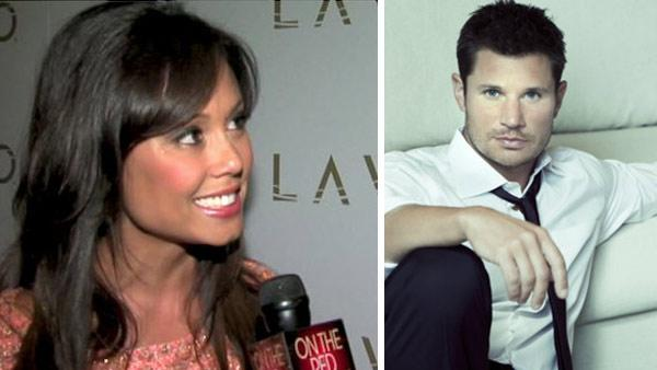 (Pictured: Nick Lachey appears in a photo posted on his website. / Vanessa Minnillo talks to OnTheRedCarpet.com at the entrance to her bachelorette party in Las Vegas in June 2011.) - Provided courtesy of OTRC / nicklachey.com