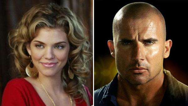 AnnaLynne McCord appears in a still from 90210. / Dominic Purcell appears in a still from Prison Break. - Provided courtesy of CW Television Network / Fox Network