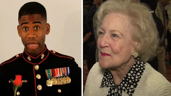 Marine Sgt. Ray Lewis asks Betty White to the Marine Corps Ball, as seen in this video posted on YouTube on July 15, 2011. / Betty White talks to OnTheRedCarpet.com in April 2011 at the Actors and Others for Animals 40th anniversary. - Provided courtesy of OTRC / youtube.com/user/RSonicVision