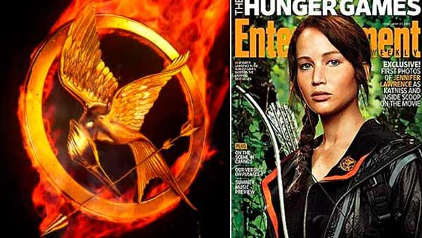 Left: A still of the animated Hunger Games poster. Right: Jennifer Lawrence appears on the cover of Entertainment Weekly magazine / Jennifer Lawrence talks to OnTheRedCarpet.com on February 7, 2011. - Provided courtesy of OTRC / Lionsgate / EW